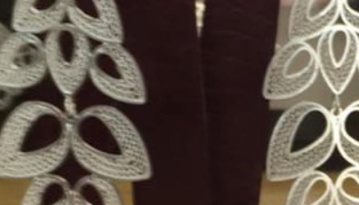 $ 150.000 Pandereta hojas en finos hilos de plata ley 925 trenzados a mano